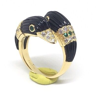 Van Cleef & Arpels 18K YG Vintage Swan Ring Onyx Emerald Diamonds