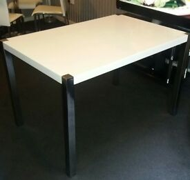 White Gloss Table with Chrome Legs