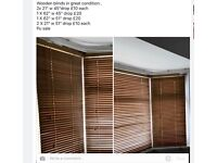 Wooden blinds assorted sizes, have now taken them down and ready for collection See photo for sizes