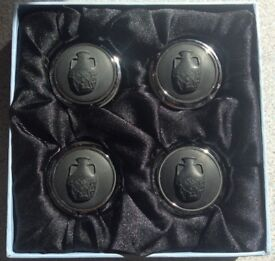 Four Wedgewood Black Jet and Chrome Card Holders