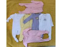 Baby girl sleepingsuits and body suits 0-3 months