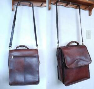 OAKVILLE LEATHER SATCHEL MANBAG Unisex Laptop Bag Messenger Cross-Body Mens Womens Child BURGUNDY BROWN Made in Columbia