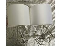 Pair of table lamps silver/white shade