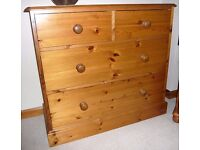 """Solid Pine Chest of Drawers (37"""" / 94cm long)"""