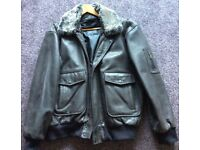 Men's brown leather jacket, bomber style, size XL