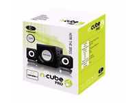 N-Cube Pro 2.1 Stereo Subwoofer 12W Speaker System for PC, Computer, Laptop