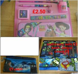 stationary sets £2, pencil cases £1 dr who pencil case £1