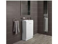 Bathstore Alpine Duo 495 Basin floor standing vanity unit - gloss white with basin