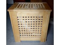 Wooden laundry box (washing basket) with removable linen liner - very sturdy & attractive. 67 litres