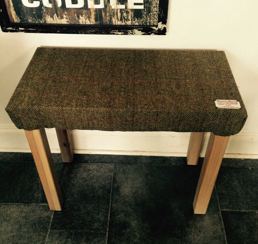 Small bench in Harris tweed / piano stool