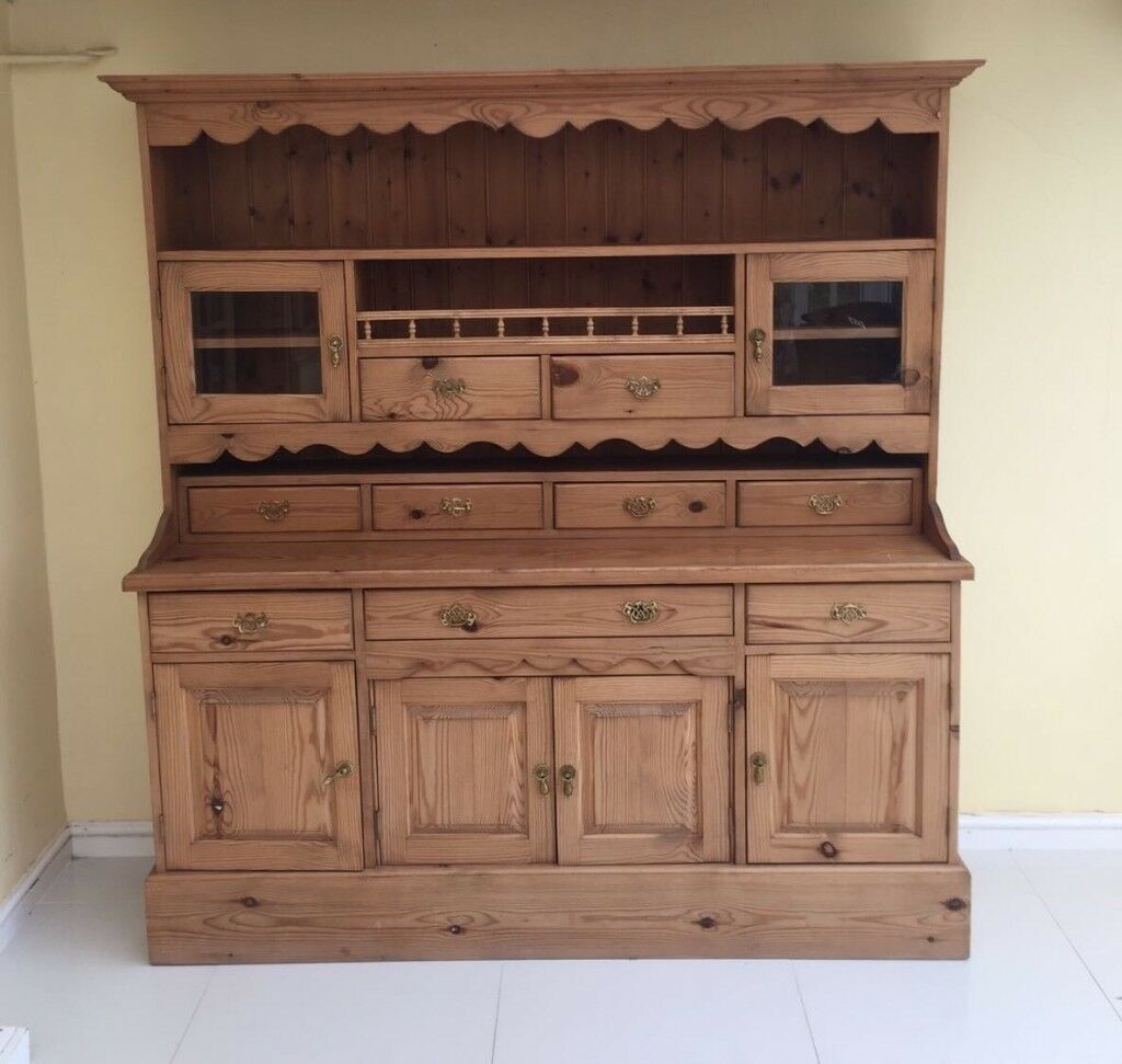 Solid Pine Welsh Dresser, Hand Made Bespoked, Thick Pine, Excellent Condition