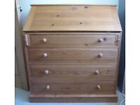Solid Pine Writing Desk with Four Drawers