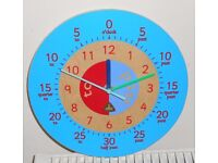 EARLY LEARNING CENTRE Blue Time Teaching Wall Clock VGC - cash on collection from Gosport Hampshire