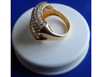 Womens 14ct Gold & Diamond Cluster Ring Size P
