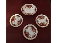 Set of Four Royal Albert Butter Dishes and Sweet Dish