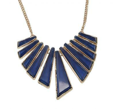 Lux Blue Triangle Geometric Stone Chain Statement Bib Necklace