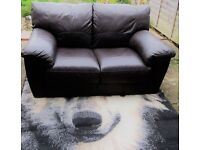two seater brown genuine leather sofa x2 NEED GONE