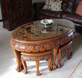 Rosewood Chinese coffee table with six matching stools