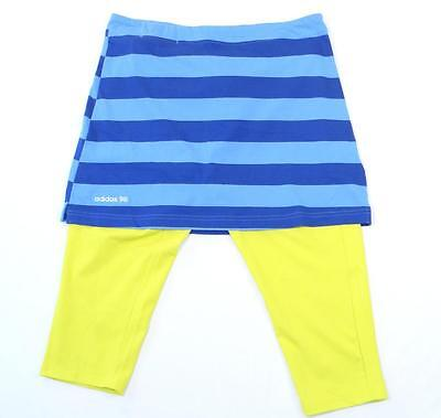 Adidas Golf Blue Stripe Skirt with Neon Yellow Stretch Capri Tights Womans NWT (Neon Blue Tights)