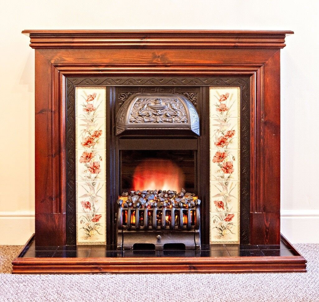 Victorian style fireplace with wooden mantelpiece tiled for Victorian corner fireplace