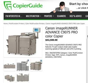 REPO Canon imageRUNNER ADVANCE C9075 9075 PRO Printer Copier Copy Printing Shop Production machine UPS Store Printers