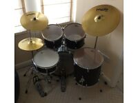 For Sale - Drum Set - Gretsch Blackhawk - 5 Piece inc. Paiste cymbals - Good/Used - Collection only