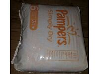 Pampers Simply dry nappies, Size 6 extra large 16kg+, £2 per pack or 3 packs for £5
