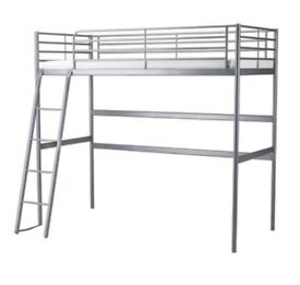 raised single metal bed frame and mattress