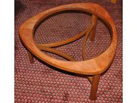 1960s teak + glass coffee table, Nathan Furniture ATOMIC, vintage, Danish design Ercol G Plan era