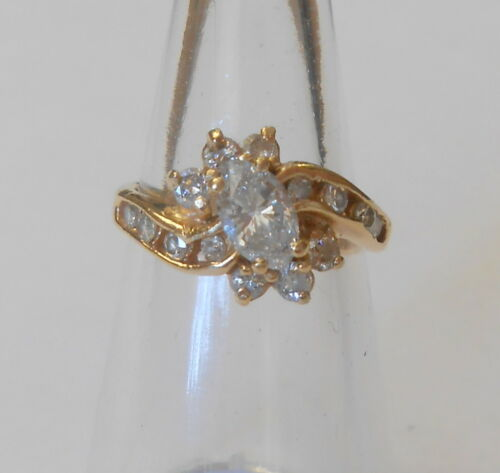 Signed RK Large Central Marquise Diamond 14K Yellow Gold 1 TDW Ring Size 6
