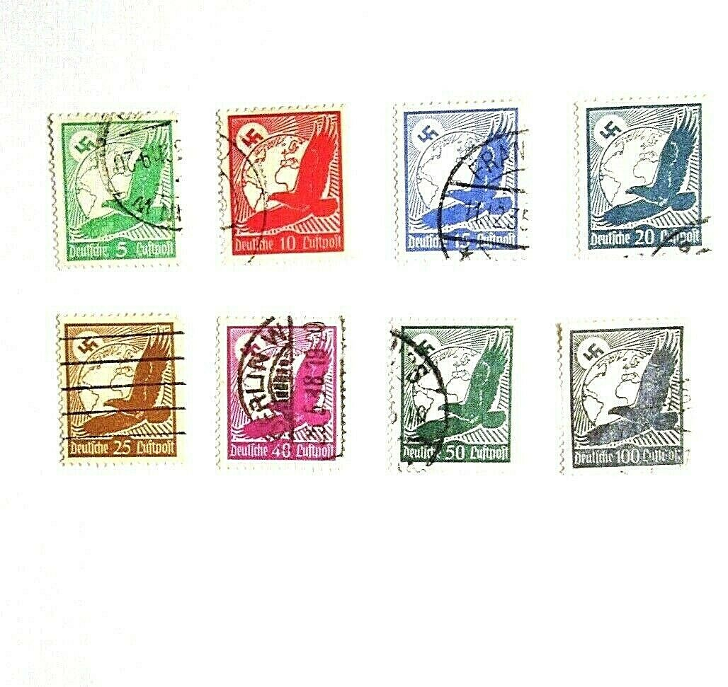 GERMANY, 1934 - Lot Of 8 AIR POST STAMPS, Used - $0.89
