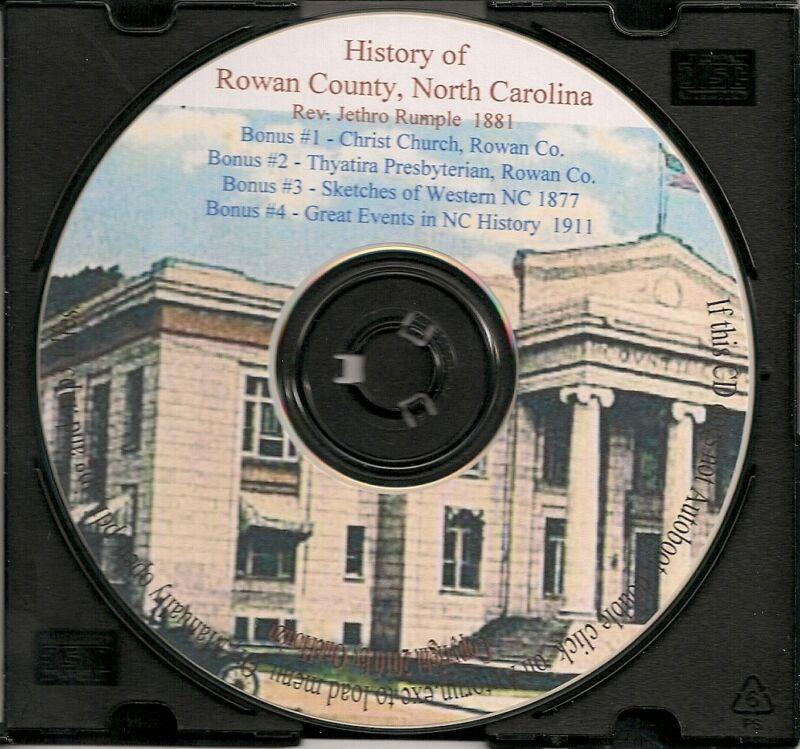 Rowan County NC - History & Genealogy 1881