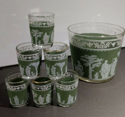 Jeannette Wedgwood Green Greek Barware Set Ice Bucket and 6 Shot Glasses