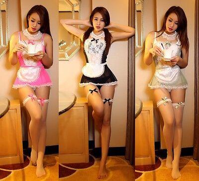 Sexy Durchsichtig Spitzen Rand Dienstmädchen Kellnerin Cosplay Kostüm, Uniform