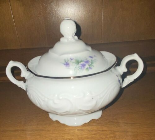 ROYAL KENT -  Poland - sugar bowl with lid - purple violet design