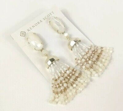 Kendra Scott Dove White Gold Beaded Tassel Earrings Mother Of Pearl New $150