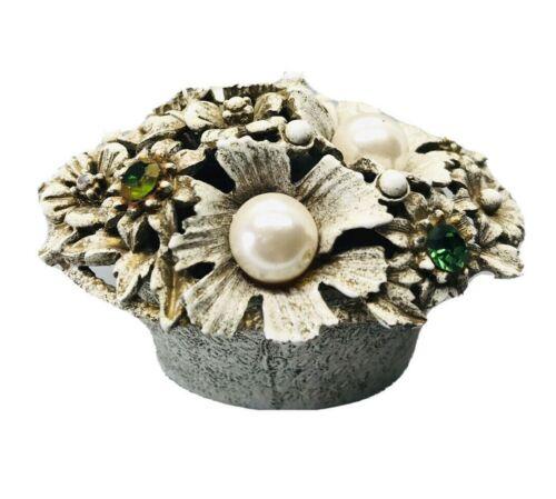 Collectible Florenza Jewel Flower Basket Trinket Box Faux Pearl Green Rhinestone