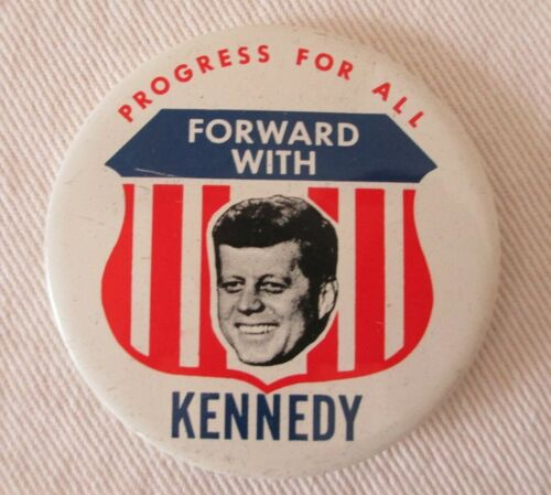 John F Kennedy Campaign Vintage Pin Back Button 1968 Kleenex Tissues