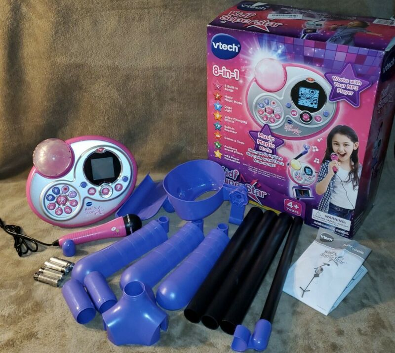 VTech Kidi Super Star Karaoke System with Mic Stand Pink Purple S7