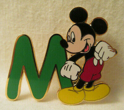 WDW~Mint Vintage 2002 WDW Alphabet - M (Green) w/Mickey Mouse Pin # 13300