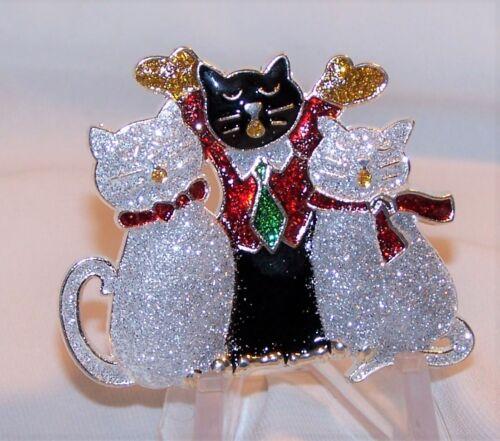 Kitty Cat Christmas Pin Brooch-Three Cats Black Cat-Glittery Enamel-New