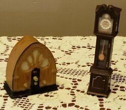 Lot of (2) Rare ACME Refrigerator Magnets ~ Grandfather Clock and Vintage Radio