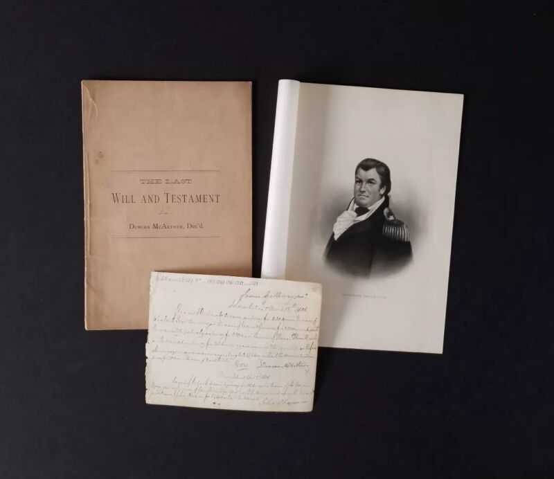DUNCAN MCARTHUR Autograph ~ Photo, Land Receipt, & Last Will & Testament