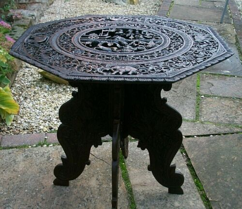 LARGE  BEAUTIFULLY CARVED 19thC BURMESE  FOLDING SIDE TABLE