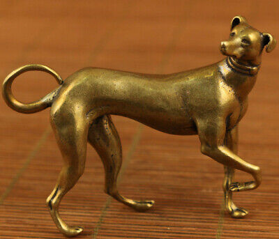 Antique Exquisite Old Bronze Handmade Carved lovely dog Statue hand piece