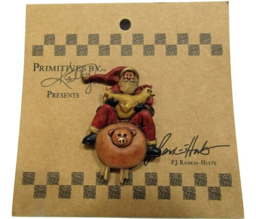 New Small Primitives By Kathy Rustic Santa Claus On A Pig W/Chicken Pin Brooch