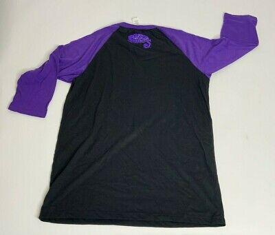 Prince Paisley Park Black Purple 3/4 Raglan Sleeve Baseball T-Shirt Mens L NWOT