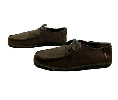 VANS Mens Size 8 Lightweight Loafers Brown Bamboo Charcoal Lining