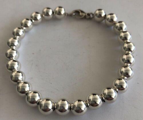 "Sterling Silver 8mm Round Bead Ball 7"" Bracelet 13 gr NOS"