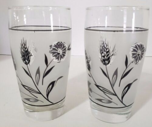 2 Libbey Mid Century Modern Tumbler Drinking Glasses Wheat Flowers
